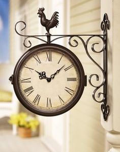 images of country rooster wall mount clock double sided covered outdoor decor wallpaper