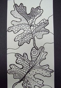 zentangle leaves, and lots of other projects from a middle school art teacher
