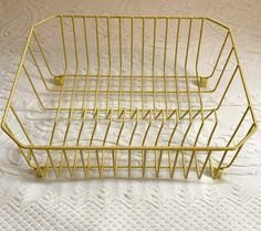 vintage yellow coated dish rack . rubbermaid . rubbermaid drying rack . drain rack by vintagous on Etsy Yellow Coat, Dish Racks, Vintage Kitchen Decor, Playpen, Mortar And Pestle, Family Memories, Mercury Glass, Vintage Yellow, Black Wood