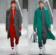 Lacoste 2015-2016 Fall Autumn Winter Mens Runway Catwalk Looks - Mercedes-Benz Fashion Week New York MBFW NYFW - Sporty Tennis Headband Suit Stripes Outerwear Hanging Sleeve Jogger Sweatpants Tracksuit Trackpants Sweater Jumper Sneakers Blazer Trench Coat Duffel Bag