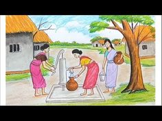 How to draw scenery of Take water from Tube well step by step Landscape Tattoo, Canvas Painting Landscape, Landscape Drawings, Landscape Art, Scenery Drawing For Kids, Art Drawings For Kids, Drawing Ideas, Oil Pastel Drawings Easy, Easy Drawings