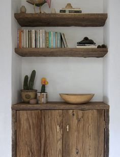Home Design Project Portfolio - nook with built in shelves and a little cabinet. Like the color, but it's a little too rough for my taste.