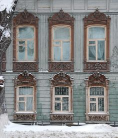 carved wooden window, a monument of wooden architecture of the city of Tyumen