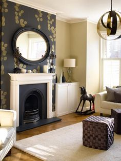 38 Ideas For Living Room Wallpaper Fireplace Mantles Fireplace Feature Wall, Simple Fireplace, Living Room With Fireplace, New Living Room, Small Living, Fireplace Ideas, Feature Walls, Fireplace Mantels, Modern Living
