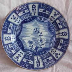 Antique Chinese Kraak Plate 9. Oriental 'Blue & by Jessica7890