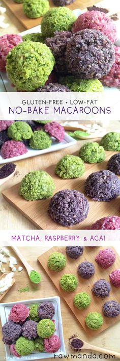 Matcha, Raspberry & Acai Macaroons - A very versatile recipe. Add different flavors to the macaroons for fun colorful options. Great for the holidays! www.rawmanda.com