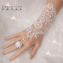 1 par de encaje sin dedos guantes nueva venta caliente de moda blanco, marfil novia guantes guantes de novia con pulsera anillo(China (Mainland))