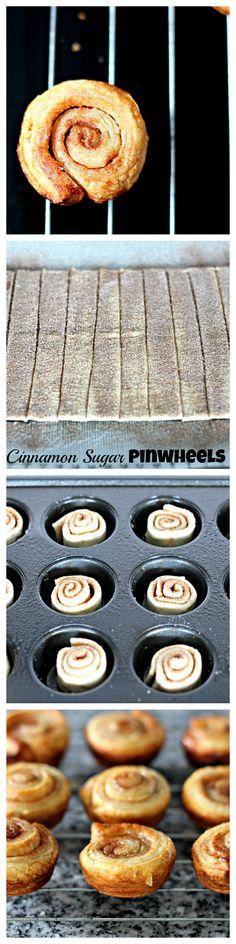 Mini Cinnamon Sugar Pinwheels - Just a Little Bite My Recipes, Sweet Recipes, Baking Recipes, Cookie Recipes, Favorite Recipes, Mini Desserts, Just Desserts, Breakfast Bread Recipes, Pinwheel Recipes