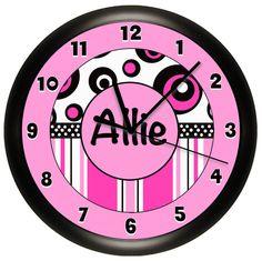 Monogram Pink and Black Girls Wall Clock 10 Inch by cabgodfrey