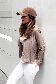 suede cap + moto jacket + white jeans #iro #topshop #uo