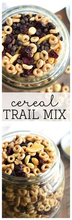 Cereal Trail Mix with GlutenFreeCheerios from What The Fork Food Blog. This trail mix is filled with bites of cheerios, chocolate chips, craisins and banana chips and is perfect for munching! - AD | whattheforkfoodblog.com