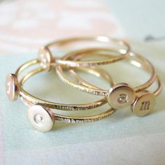 adorn512-Handstamped Jewelry - Personalized Mother Jewelry — Stacking Initial Gold-Filled Rings - Gold-Filled Set of Three-Everyday Delicate Rings with Initals