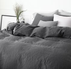 Washed Charcoal / Dark Gray Colored Linen Soft Twin / Queen Size Bedding Set by Magnolia Bedding