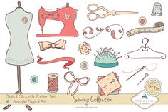 Hand drawn sewing supplies clipart set perfect for Stationery Designers, DIY Invitations, Banners, Cards, Headers, Coupons, Backgrounds, Scrapbook and Webdesign. The main colors are pink,