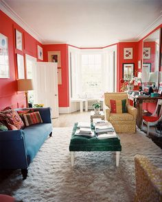 This cherry-red walls give new meaning and life to old traditional lines!
