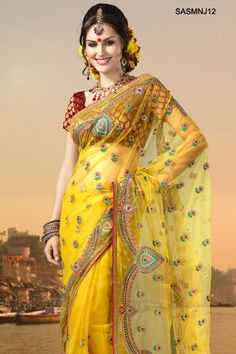 Brilliant Yellow Embroidered Net Saree From Cbazaar