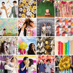 16 Fun Photo Backdrop Ideas for Your Next Party via Brit + Co. I especially like the balloons and the paper swirls...easy way to incorporate your wedding colors into photos.