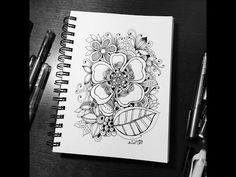 zentangle inspired x2 speed - flowers - YouTube