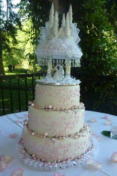 Elegant Shabby Chic Winter Blush Pink White Round Wedding Cakes Photos & Pictures - WeddingWire.com