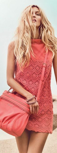 Total coral outfit: little embroidered dress with handbag. I adore this outfit!!!! women fashion outfit clothing style apparel @roressclothes closet ideas