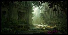 Wall street by AndreeWallin on DeviantArt Apocalypse World, Apocalypse Art, Fantasy World, Fantasy Art, Dark Fantasy, Post Apocalyptic City, Matte Painting, Environment Concept, Fantasy Landscape