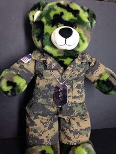 Build A Bear Green Camo White Face Plush Teddy Bear Military Army Guard Fatigues | eBay