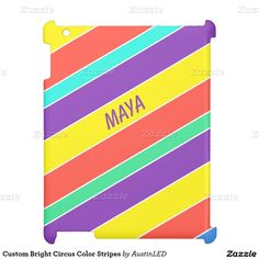 Custom Bright Circus Color Stripes Cover For The iPad Designed by AustinLED on www.zazzle.com/austinLED*/.