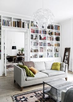 Living room with a white floor to ceiling library.