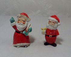 Vintage 2 Santa Claus Figurines HP 1 Spaghetti Trim MIJ