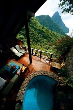 Clinging to a hillside above Pitons Bay, the lovely Ladera Resort in St. Lucia stands out primarily for its three-walled accommodations that make the most of the breathtaking views.