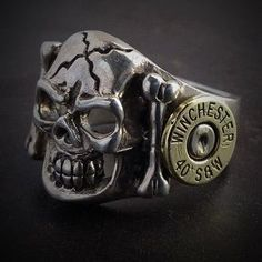 JECTZ® offers a unique hand poured bullet ring that showcases two once fired bullet heads, one on each side of ring. If your a skull lover, this ring is for you. Skull Jewelry, Gothic Jewelry, Jewelry Rings, Jewelery, Skull Rings, Jewelry Case, Diy Jewelry, Handmade Jewelry, Bullet Ring