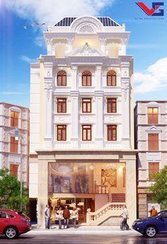 Khách sạn mini phong cách Châu Âu Classic House Exterior, Modern Exterior House Designs, Classic House Design, Exterior Design, Building Front, Building Facade, Building Design, Classic Architecture, Commercial Architecture