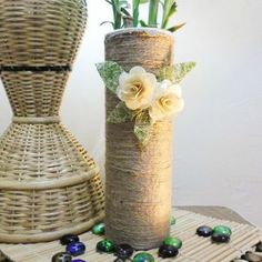 Tall rustic planters from Pringles cans - Follow @Guidecentral for amazing #crafts and #DIY ideas