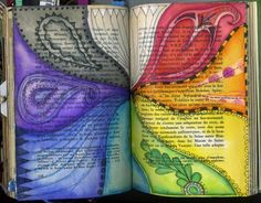 Phizzychick: Who cares if it rains, there's always a rainbow. Lots of altered book pages and art journal inspiration.