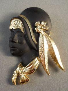 Vintage Torino Flapper Girl Brooch