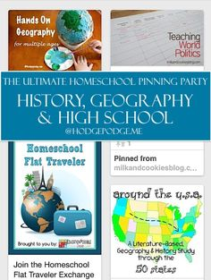 History, Geography & High School at The Ultimate Homeschool Pinning Party – Education Homeschool High School, Homeschool Curriculum, Homeschooling, History Education, Teaching History, American History Lessons, Teaching Geography, High School History, Teaching Social Studies