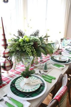 Add color to your Christmas gathering with festive linens, plaids dinnerware and holiday accessories from HomeGoods. Sponsored. #Christmas #plaid
