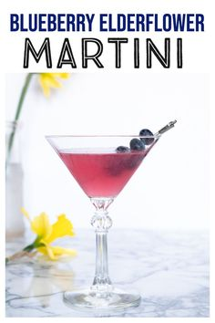 Blueberry Elderflower Martini - this fruity and floral gin cocktail is easy enough for a weeknight, but so pretty and delicious that it's perfect for a special occasion! Champagne Cocktail, Cocktail Drinks, Fun Drinks, Yummy Drinks, Alcoholic Drinks, Sweet Cocktails, Martini Recipes, Cocktail Recipes, Drink Recipes