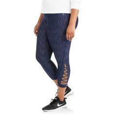 Danskin Now Women's Plus Zig Zag Fashion Crop Pant, Blue
