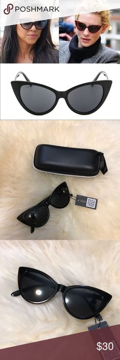 Black cat eye sunglasses Black cat eye sunglasses. New with tags boutique item. All black. Measurements in photos. Anti reflective, UV 400 UVA protection. Comes with case and cleaning cloth. Bundle items for greater discounts. Accessories Sunglasses