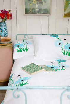 Fresh Bedroom:  Stark White, Green, and Blue