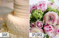 WEDDING IDEAS TO SAVE YOU MONEY: When planning a wedding, most couples want a delicious wedding cake, fun wedding music, the gorgeous wedding place settings, and pretty much everything to be perfect. But are all those huge expenses really worth it? These nine couples share what they think in retrospect were valuable splurges and where they wish they might've cut down instead. Click through for *brilliant* wedding ideas that will save you money and make the most of your day!