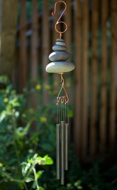 Wind Chime Natural Pacific Beach Stone Brass Chimes