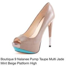 Boutique 9 BRAND NEW pumps with box Up for sale is a pair of brand new, never worn, stylish Taupe Multi Nalanee peep toe pumps by Boutique 9. Heel is 5 1/2 inches tall with 1 1/2 inch platform.    Comes with the original box.   Leather upper, man made sole. Made in China. Size 8.5 M which fits true to size. Boutique 9 Shoes Heels