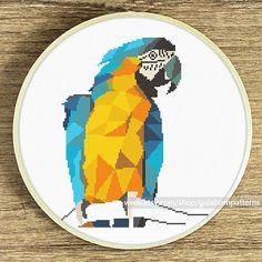 Macaw cross stitch Geometric cross stitch by galabornpatterns