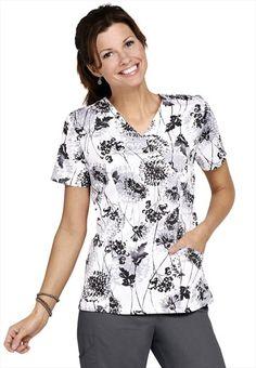 c37f56fbb10 Landau Field Flowers mock-wrap print scrub top. Medical Uniforms, Work  Uniforms,