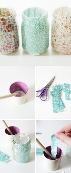 Diy mason jar diy mason jar diy, jar crafts ve bottle crafts Mason Jar Crafts, Mason Jar Diy, Diy And Crafts Sewing, Crafts To Sell, Craft Tutorials, Diy Projects, Do It Yourself Inspiration, Diy Candle Holders, Diy Décoration