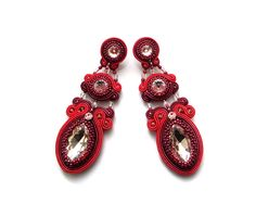 Exclusive soutache earrings elegant sparkling and by rododendron7