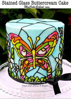 Beautiful Stained Glass Buttercream Effect by MyCakeSchool.com! Cake Decorating Tutorials & Recipes!