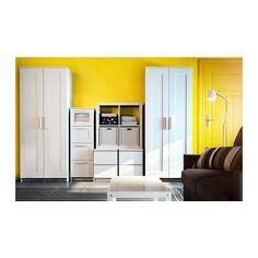 BRIMNES Lipasto, 4 laatikkoa - valkoinen/huurrelasi - IKEA